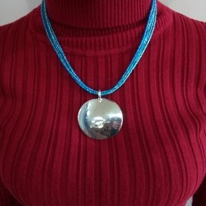 Blue bead silver tone statement necklace